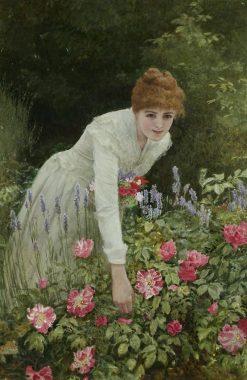 Lady Picking Flowers | Edward Killingworth Johnson | Oil Painting