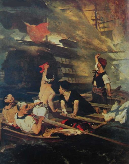 The blowing up of the Turkish flagship by Kanaris | Nikiphoros Lytras | Oil Painting