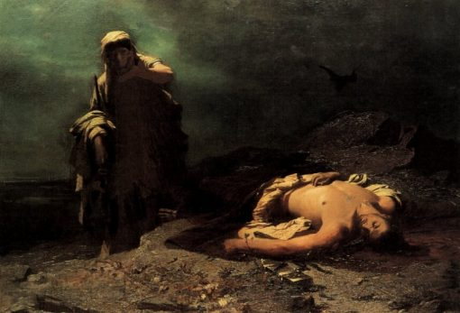 Antigone in front of the dead Polynices   Nikiphoros Lytras   Oil Painting