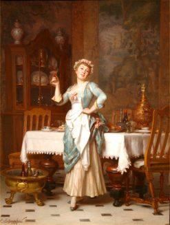 An Elegant Maid   Emile Pierre Metzmacher   Oil Painting