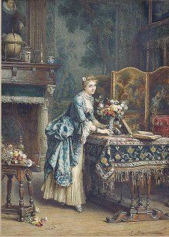 Arranging Flowers   Emile Pierre Metzmacher   Oil Painting