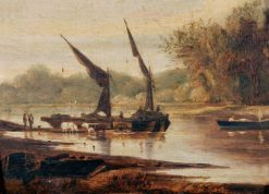Barges on the Thames   Alfred Stannard   Oil Painting
