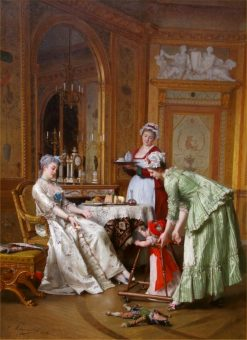 Her First Steps   Emile Pierre Metzmacher   Oil Painting