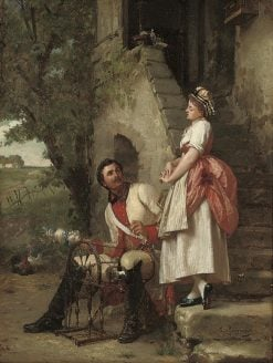 The Spinning Lesson   Emile Pierre Metzmacher   Oil Painting