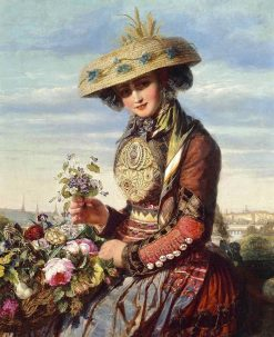 A flower girl from Lyon | Paul De Longpre | Oil Painting