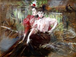 Young Women Seated   Giovanni Boldini   Oil Painting