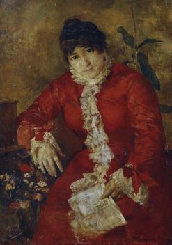 Woman in red dress with a newspaper   Anton Romako   Oil Painting