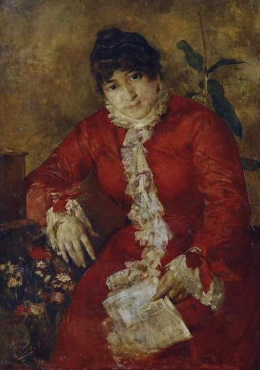 Woman in red dress with a newspaper | Anton Romako | Oil Painting