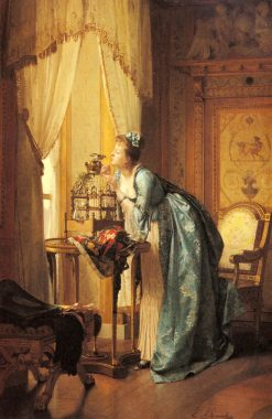 The Songbird   Emile Pierre Metzmacher   Oil Painting