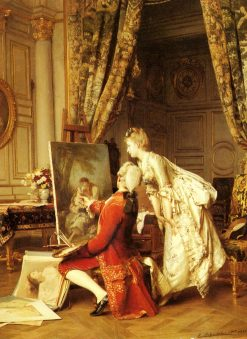 The Artist and his Admirer   Emile Pierre Metzmacher   Oil Painting