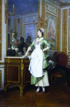 A Pretty Reflection   Emile Pierre Metzmacher   Oil Painting