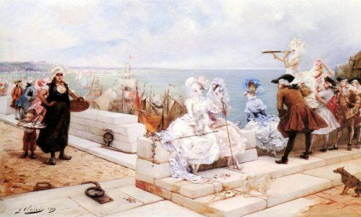Elegant Figures Watching the Regatta | Georges Jules Victor Clairin | Oil Painting
