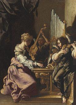 Saint Cecilia in concert with angels | Luigi Miradori | Oil Painting