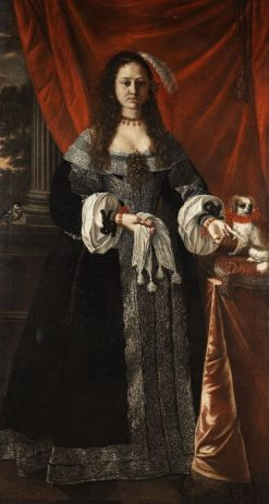 Portrait of a lady with her dog | Luigi Miradori | Oil Painting