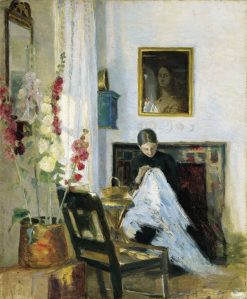 Interior with Woman Sewing | Marie Triepcke Kroyer | Oil Painting