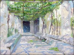 Sunny pergola in Ravello | Marie Triepcke Kroyer | Oil Painting