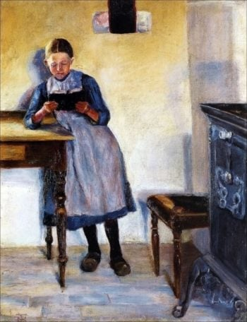 Interior with a little girl in blue dress