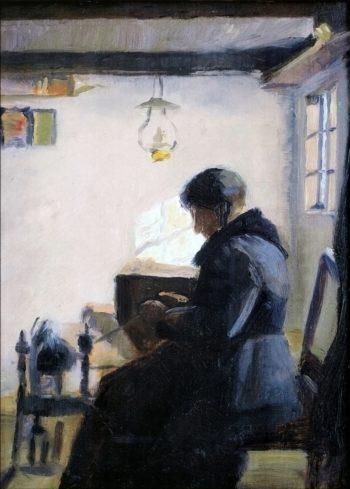 Woman Spinning | Marie Triepcke Kroyer | Oil Painting