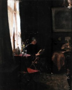 Interior with young girl reading at the window   Marie Triepcke Kroyer   Oil Painting