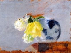 Yellow and white roses in a vase | Marie Triepcke Kroyer | Oil Painting