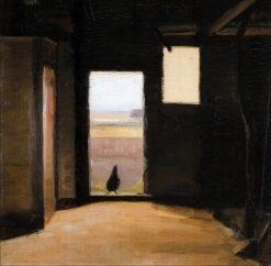 Hen in Stable Door   Marie Triepcke Kroyer   Oil Painting