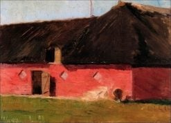 Landscape with a Red House   Marie Triepcke Kroyer   Oil Painting