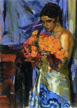 Woman with Nasturtiums | Oleksandr Murashko | Oil Painting