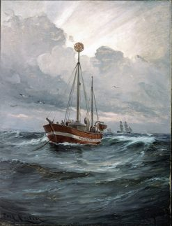 The lightship at Skagen Reef | Carl Locher | Oil Painting