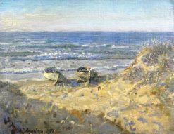 Boats in Skagen on Sonderstrand | Viggo Johansen | Oil Painting