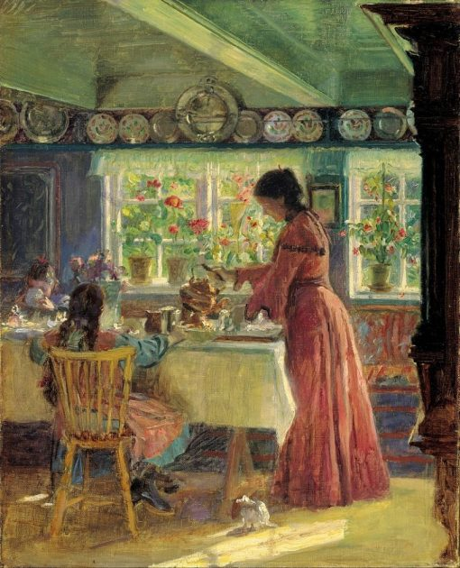 Pouring the morning coffee | Laurits Tuxen | Oil Painting
