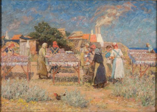 Sun drying herrings | Laurits Tuxen | Oil Painting