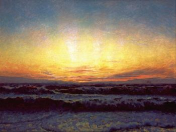 The North Sea in stormy weather. After sunset | Laurits Tuxen | Oil Painting