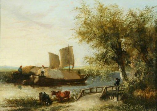 A Barge on the Yare -  Sunset | James Stark | Oil Painting