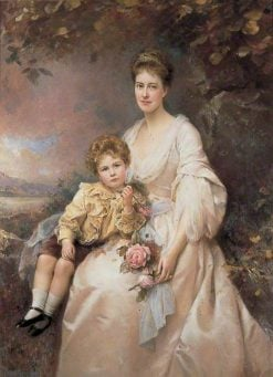 Mrs Laura Gascoigne and Her Son Alvary | Edward Hughes | Oil Painting