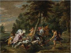The Calydonian Boar Hunt | Willem van Herp the Elder | Oil Painting