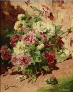 Pink and White Peonies | Georges Jeannin | Oil Painting