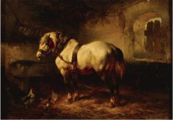 A Horse and Chickens in a Stable | Wouterus Verschuur | Oil Painting