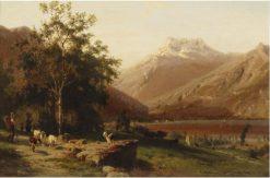 Goat Herder in the Alps | Karl Girardet | Oil Painting