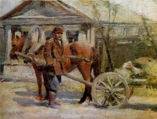 Peasant with a Horse | Sergei Malyutin | Oil Painting