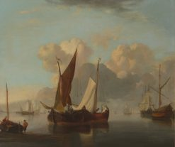 Fishing Fleet in a Harbor | Charles Louis Verboeckhoven | Oil Painting