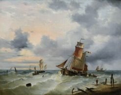 Belgian Vessels in a Stiff Breeze | Charles Louis Verboeckhoven | Oil Painting