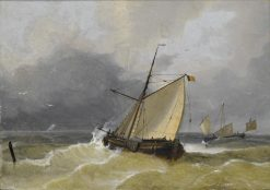 A Belgian tjalk running out to sea | Charles Louis Verboeckhoven | Oil Painting