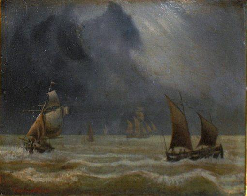 Marine   Charles Louis Verboeckhoven   Oil Painting