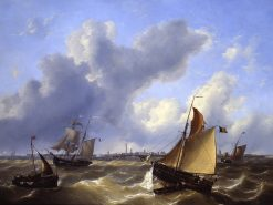 A windy day off Ostend | Charles Louis Verboeckhoven | Oil Painting