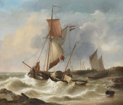 Boats in a stiff breeze | Charles Louis Verboeckhoven | Oil Painting