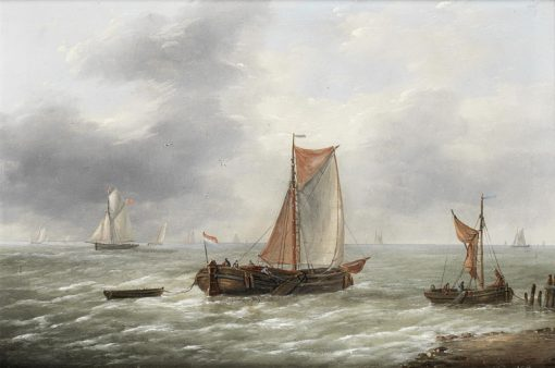 Dutch barges and other craft plying their trade | Charles Louis Verboeckhoven | Oil Painting