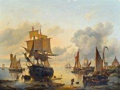 Dutch harbor scene | Charles Louis Verboeckhoven | Oil Painting