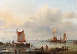 Fishermen at the harbour entrance | Charles Louis Verboeckhoven | Oil Painting
