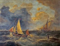 Fishing boats in choppy seas | Charles Louis Verboeckhoven | Oil Painting