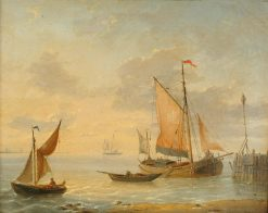 Fishing vessels off a coast | Charles Louis Verboeckhoven | Oil Painting